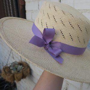Janessa Leoné Straw Summer Hat w/ Purple Ribbon